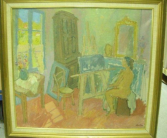 Zygmunt LANDAU (1898-1962) L'ATELIER DE SAINT-TROPEZ Huile sur toile