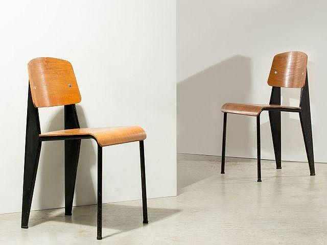 jean prouve 1901 1984 paire de chaises mod m tropole 305. Black Bedroom Furniture Sets. Home Design Ideas