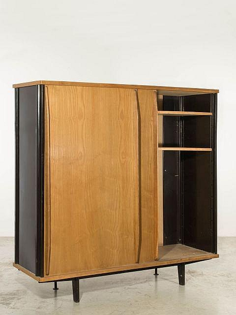 jean prouve 1901 1984 armoire deux portes coulissantes. Black Bedroom Furniture Sets. Home Design Ideas