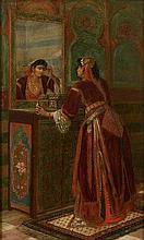 Jean-Baptiste HUYSMANS 1826 - 1906 Une mauresque coquette Huile sur panneau
