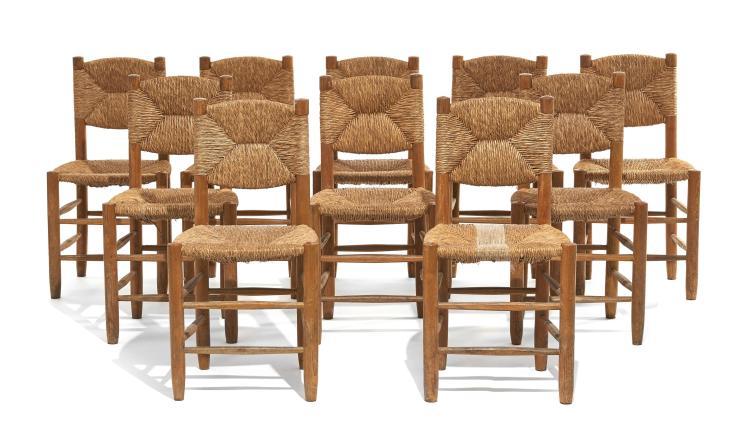Charlotte PERRIAND (1903-1999) Suite de dix chaises dites