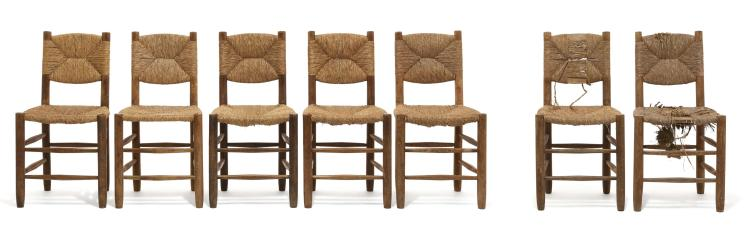 Charlotte PERRIAND (1903-1999) Suite de cinq chaises dites