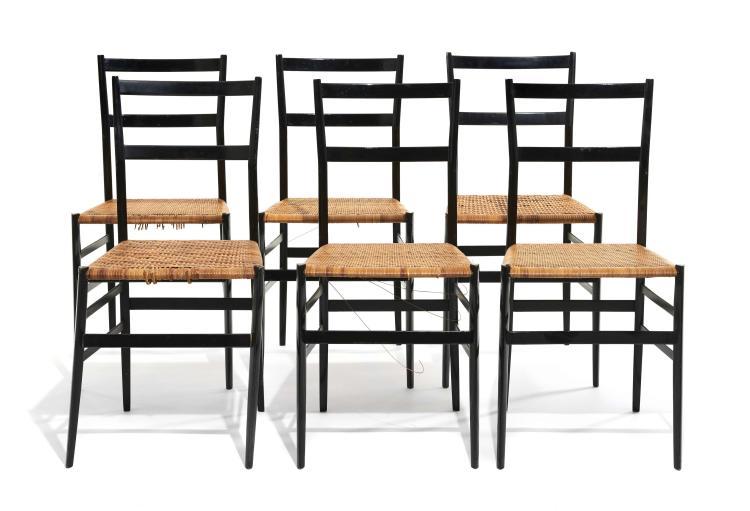 Gio PONTI (1891-1979) Suite de six chaises dites