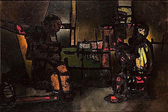 Paul ACKERMAN (1908 - 1981) REMBRANDT DEVISANT AVEC SON AMI LE RABBIN, LE SOIR DANS SON ATELIER, 1964 huile sur toile