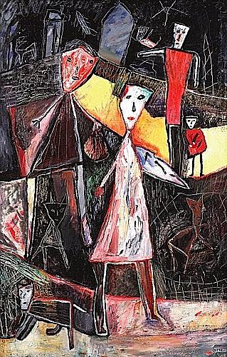 Eliane LARUS (née en 1944) LA NUIT DU CHASSEUR, 1988/1991 Acrylique sur bois