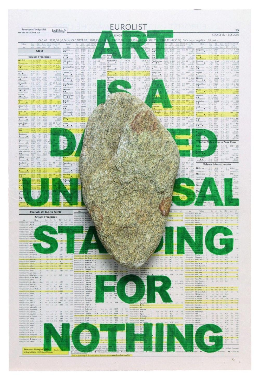 Franck Scurti (born 1965) Statement, # 9, 2009 Stone, newspaper, acrylic, wood, (framed)