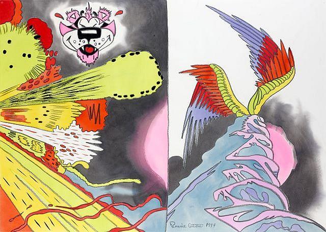 Ronnie CUTRONE (né en 1948) PINK PANTHER, 1994 Aquarelle et pastel sur papier