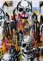 SEEN (Richard Mirando dit) (né en 1961) SUBWAY MAP SKULL, 2007 Peinture aérosol sur plan de métro de New York (MTA)