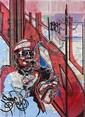 SONIC (né en 1961) SANS TITRE, JUIN 2012 Peinture aérosol et marqueur sur plan de métro de New York (MTA)