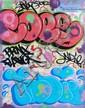 COPE 2 & INDIE () SANS TITRE Peinture aérosol et marqueur sur plan de métro de New York (MTA)