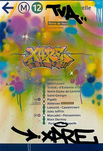 XARE (né en 1980) FRONTLINE SOLDIER, 2012 Peinture aérosol et marqueur sur plaque émaillée RATP