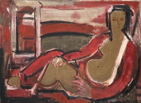 Henri BERLEWI (1894-1967) NU ALLONGE AU VETEMENT ROUGE Huile sur carton toilé