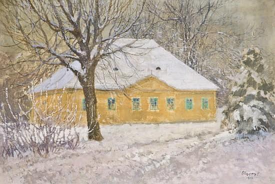 Victor OLGYAI (1870 - 1929) LA MAISON JAUNE, 1912 Huile sur toile