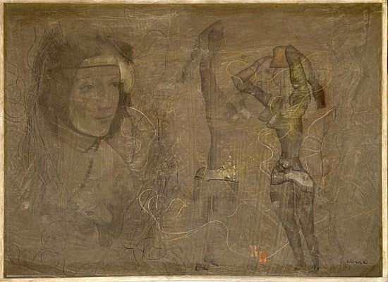 Jerzy KUJAWSKI (1921 - 1998) RR, circa 1964 Dessin au crayon et rehaut de gouache sur nylon monté sur carton