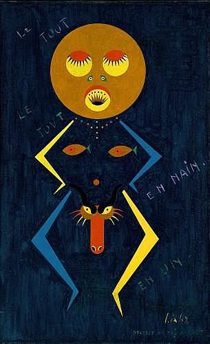 Yves LALOY (né en 1920) LE TOUT EN UN / LE TOUT EN NAIN, circa 1958 Huile sur toile marouflée sur panneau
