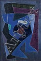 Francis Etiennne MONTANIER (1895-1974) RYTHMES BLEUS, 1963 Huile sur panneau, Francis Etienne Montanier, Click for value