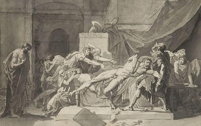Pierre Bouillon Thiviers, 1776 - Paris, 1831 La mort de Caton d'Utique Plume et encre noire, lavis gris sur trait de crayon