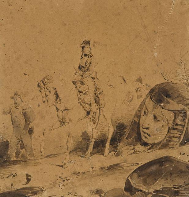 Victor-Jean Adam Paris, 1801 - Viroflay, 1886 Napoléon devant un sphinx Plume et encre brune sur traits de crayon noir, lavis brun,