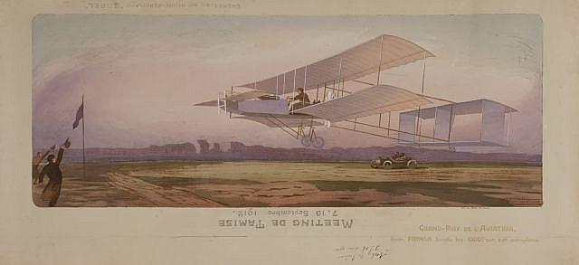 Ernest MONTAUT (1879-1909)  Grand prix de l'aviation, Henri Farman boucle les 1000 mètres sur son aéroplane