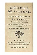 LEVACHER DE LA FEUTRIE  L'Ecole de Salerne, ou l'Art de conserver sa santé, En vers latins et françois, Avec des remarques