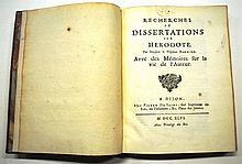 Jean BOUHIER DE SAVIGNY  Recherches et dissertations sur Hérodote... Avec des Mémoires sur la vie de l'Auteur [par le P. Oudin]