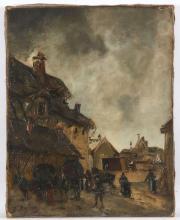 Edouard-Jacques DUFEU (1840 - 1900) Le relais de poste Huile sur toile,