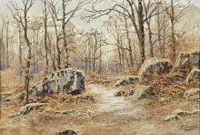 Joseph-Clément-Maxime JEANNOT (Né en 1855) Bois en hiver Aquarelle,