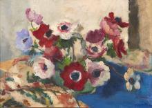 Charles KVAPIL (1884-1957) Bouquet d'anémones Huile sur toile,