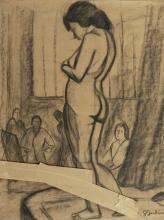 Georges JOUBIN (1888-1983) Modèle dans l'atelier Pastel sur papier,