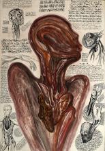 Michel BATTLE (Né en 1946) Figure d'anatomie Technique mixte,