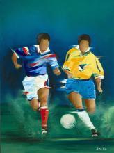 Victor SPAHN (Né en 1949) Joueurs de foot Technique mixte,