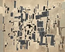 Max PAPART (1911 - 1994) Composition Technique mixte (collage, aquarelle, pastel)
