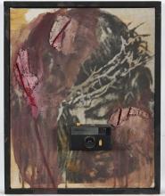 Wolf VOSTELL (1932-1998) Über Velasquez, 1979 Acrylique et collage sur sérigraphie sur toile