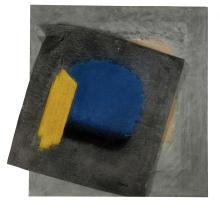 P. DELAPORTE  Sans titre Technique mixte (collage de toile sur une plaque en agglomérée)