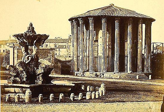 Tommaso CUCCIONI (1790-1864) Roma, Tempio di Vesta et Il Foro romano,1860 2 tirages albu...