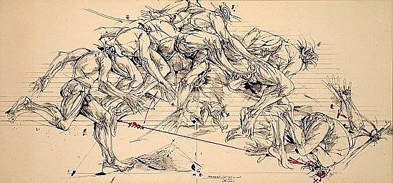 Vladimir VELICKOVIC (né en 1935) MOUVEMENTS - SEPT ETATS DU SAUT, 10/11/1979 Dessin à l'encre de Chine, encres de couleur et collage..