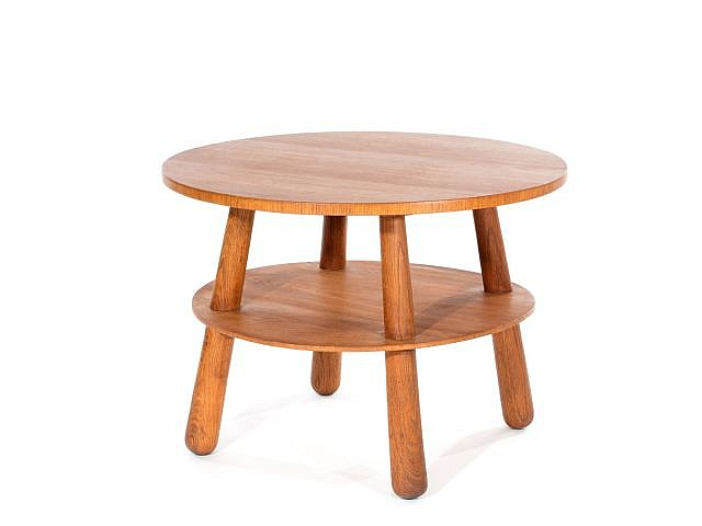 Philip arctander attribu table basse ronde double plate for Table ronde en bois ikea