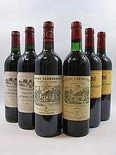 6 bouteilles 1 bt : CHÂTEAU CARBONNIEUX 1983 CC Pessac Léognan (base goulot, étiquette fanée)