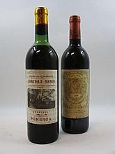 2 bouteilles 1 bt : CHÂTEAU NENIN 1966 Pomerol (haute épaule, étiquette fanée)