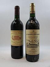 2 bouteilles 1 bt : PAVILLON ROUGE DU CH MARGAUX 1990 Margaux (légèrement bas, étiquette tachée)