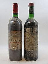 6 bouteilles 2 bts : CHÂTEAU PAVIE 1974 1 GCC (B) Saint Emilion (étiquettes très abimées, déchirées)