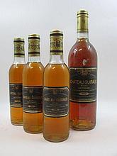 4 flacons 3 demi bts : CHÂTEAU GUIRAUD 1980 1er cru Sauternes (1 base goulot, 2 légèrement bas, étiquettes sales)