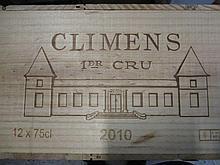 12 bouteilles CHÂTEAU CLIMENS 2010 1er cru Sauternes Caisse bois d''origine