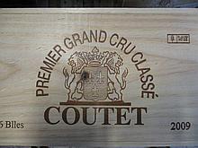 6 bouteilles CHÂTEAU COUTET 2009 1er cru Sauternes Caisse bois d''origine