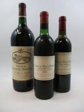 3 bouteilles 1 bt : CHÂTEAU HAUT BAILLY 1970 CC Pessac Léognan (légèrement bas, tampon Nicolas)