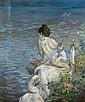 Paul-Albert Besnard Paris, 1849 - 1934 Baigneuse au cygne Huile sur toile, Albert Besnard, Click for value