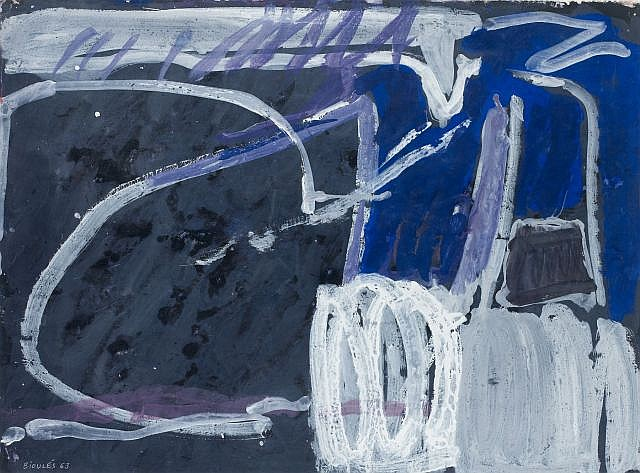 Vincent BIOULES (né en 1938) SANS TITRE, 1963 Gouache sur papier