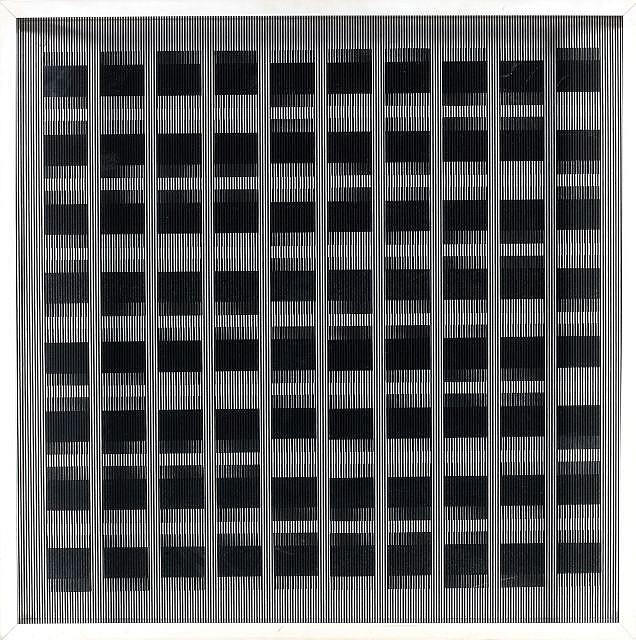 Ludwig WILDING (1927-2010) OBJEKT MIT SCHEINBEWEGUNG, 1987 Sérigraphie sur verre et encre sur carton marouflé sur panneau