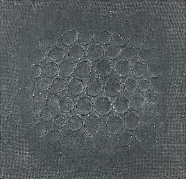 Hans BISCHOFFSHAUSEN (1927-1987) ESPACE CONCENTRE , 1963-1965 Technique mixte sur toile marouflée sur panneau d'isorel