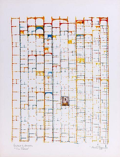 """Brion GYSIN (1919-1986) PORTRAIT OF HANSOR """"THE PROCESS"""", 1974 Encres de couleurs et collage de photographie sur carton"""
